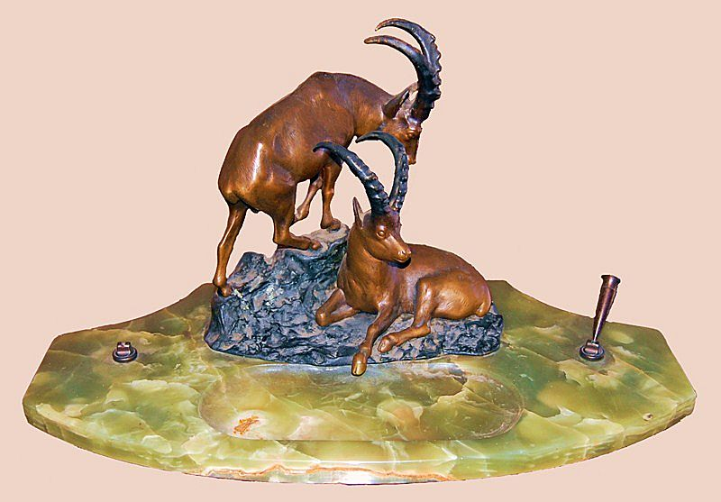 Desk Top Pen Stand with Bronze African Elands on Onyx Base