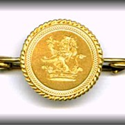 Gold Brooch Pin  Lion Standing on Crown 18 kt