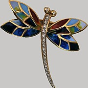 Dragonfly Brooch Diamonds Enamel 14Kt Gold