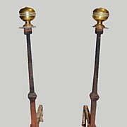 Fireplace Andirons Iron Brass Primitive Italian 17th Century