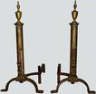 Fireplace Andirons Tall Primitive Brass