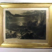 Antique Engraving Biblical Gold Frame Large