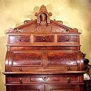 Victorian Cylinder Desk Burl Walnut Carved