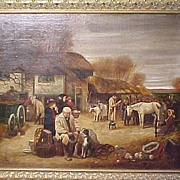 Oil Painting Signed Farm Auction in Frame British 19th Century