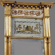 Antique Mirror Gold Gilt Reverse Painted