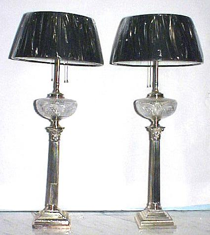 Antique Banquet Lamps Oil Cut Glass Silver