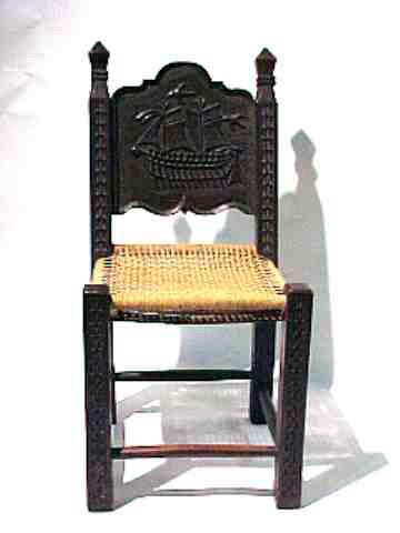 Antique Miniature Childs Chair  with Carved Ship on Back