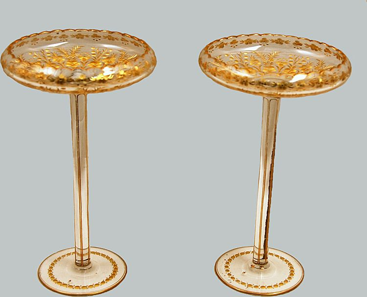 Tall Glass Compote Gold Gilt Pair Honesdale Pennsylvania Glass
