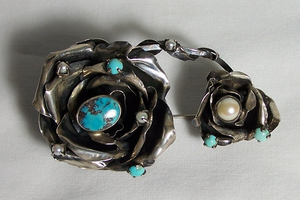 Brooch Turquoise & Pearls Israel Sterling Silver
