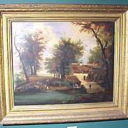 Oil Painting signed T Clark European Countryside