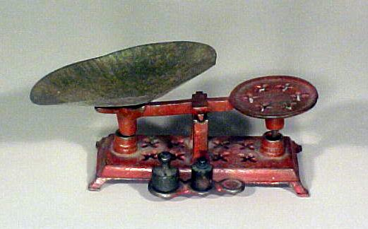 Miniature Salesmen Sample Scale in Original Red Paint ,Country Store Style