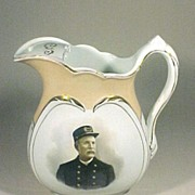 Ironstone Pitcher Policeman Portrait Presentation Philadelphia Antique