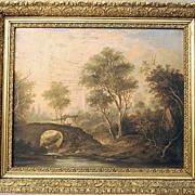 Oil Painting European Landscape Bridge Stream
