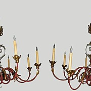Chandeliers Russian Pair with Hand Hammered Gold So Rare
