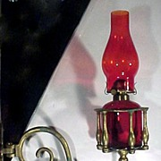Ruby Glass & Brass Oil Lamp Wall Sconce