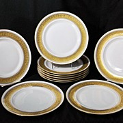 Limoges Plates Gold Enamel Redon Set of 10 Free Shipping