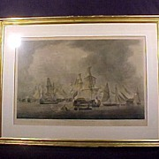 19th Century Nautical Engraving Trafalgar