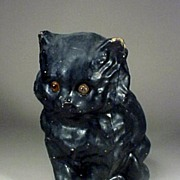 Victorian Black Cat with Amber Eyes