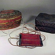 Old African Basket Collection , Oval Basket,Woven Box & a Seed Pouch
