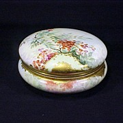 Limoges VanityPowder Box Handpainted Enameled Gilt Large