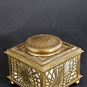 Signed Tiffany Inkwell,Bronze Pine Needle