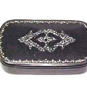 19th Century lacquer Snuff Box inlaid Mother of Pearl & Silver