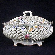 French Faience Compote,Delicate Open Basket Weave Design & Enameled Flowers
