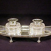 1885 Sterling Silver Cut Crystal Double Inkwell
