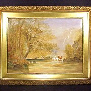 Wm Widgery Watercolor Painting Horses Elegant Gold Gilt Frame