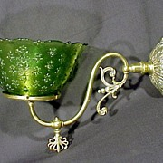 19th Century Brass Wall Sconce Green Fleur-de-lis Shade