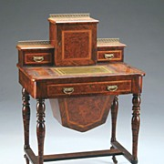 Elegant Antique Burl Walnut Ladies Work Table