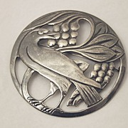 Sterling  Silver Brooch Large Size with Bird in Center