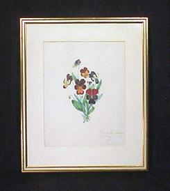 Antique Drawing Pansies Framed Art Signed