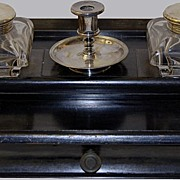 Antique Ebony Crystal Glass Inkwell Stand