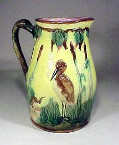 Majolica Pottery Pitcher Yellow Birds Cranes