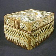 Antique Native American Indian Quill Box