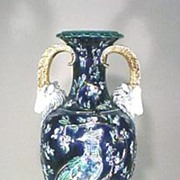 Antique Art Pottery Majolica Vase Blue Rams Heads Birds