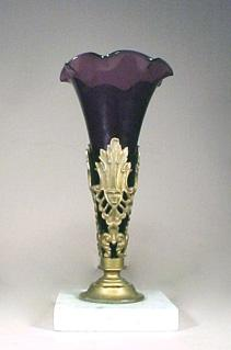Antique Girandole Amethyst Glass Vase New England Glass Co