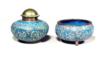 Antique Open Salt Pepper Shaker Cloisonn Service