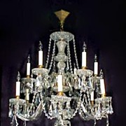 Molded Cut Glass Crystal Chandelier Two Tier