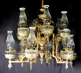 Oil Chandelier Cast Iron 12 Font Kerosene
