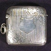 Antique Sterling Silver Match Safe Case Shield
