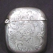 Antique Sterling Silver Match Safe Case Florals