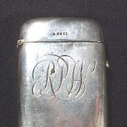 Antique Aluminum Silver Match Safe Monogram