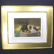 Cat & Dog Pastel Painting Gold Frame Art