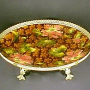 Majolica Centerpiece Gilt Bronze Mounted