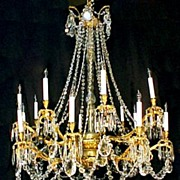 Crystal Chandelier 16 Branch Large Gilt Brass Late 1800's