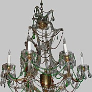 Antique Bohemian Multi Colored Crystal Chandelier