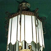 Chandelier White Leaded Slag Glass Hanging Lantern