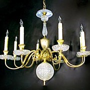 Antique Chandelier Brass & Crystal